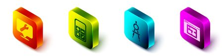 Set Isometric Location with wrench spanner, Calculator, Drawing compass and House plan icon. Vector. 版權商用圖片 - 150126180