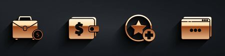 Set Briefcase and money, Wallet with dollar, Star and Website template icon with long shadow. Vector. Illustration