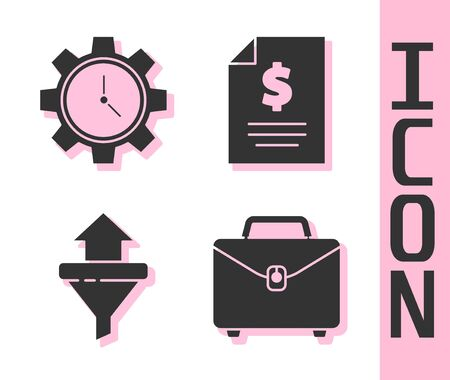 Set Briefcase, Time Management, Sales funnel with arrows and Contract money icon. Vector. Stock Illustratie