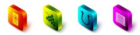 Set Isometric Casino poker tournament invitation, Casino slot machine with grape, Horseshoe and Laptop and slot machine icon. Vector. 向量圖像