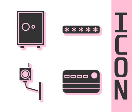 Set Credit card, Safe, Security camera and Password protection icon. Vector.