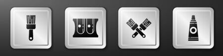 Set Paint brush, Pencil sharpener, Crossed paint brush and Tube with paint palette icon. Silver square button. Vector