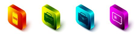 Set Isometric Mobile phone SEO optimization, Briefcase, Briefcase and Safe icon. Vector. 向量圖像