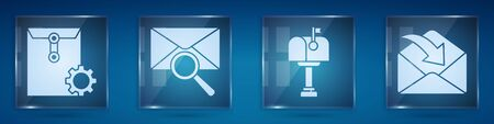 Set Envelope setting, Envelope with magnifying glass, Mail box and Envelope. Square glass panels. Vector. Ilustração