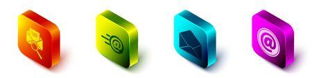 Set Isometric Envelope with magnifying glass, Mail and e-mail, Envelope and Mail and e-mail icon. Vector Çizim