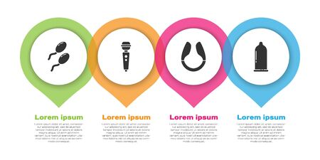 Set Sperm, Dildo vibrator, Dildo vibrator and Condom. Business infographic template. Vector