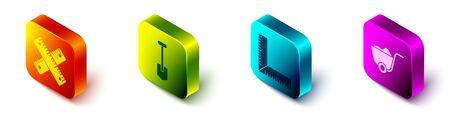 Set Isometric Crossed ruler, Shovel, Corner ruler and Shovel icon. Vector.