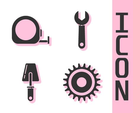 Set Circular saw blade, Roulette construction, Trowel and Wrench spanner icon. Vector