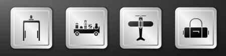 Set Metal detector in airport, Airport luggage towing truck, Plane and Suitcase icon. Silver square button. Vector Illustration