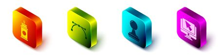 Set Isometric Paint spray can, Bezier curve, Stamp and Computer monitor and cursor icon. Vector. 일러스트