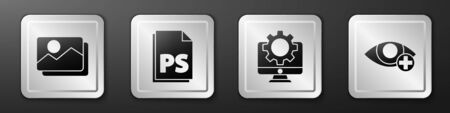 Set Picture landscape, PS File document, Computer monitor and gear and Red eye effect icon. Silver square button. Vector. 版權商用圖片 - 150126696