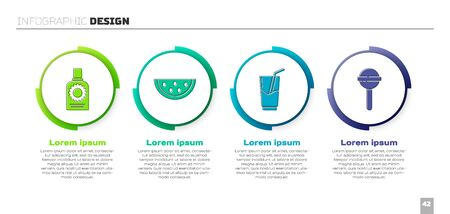 Set Sunscreen spray bottle, Watermelon, Cocktail and alcohol drink and Lollipop. Business infographic template. Vector.