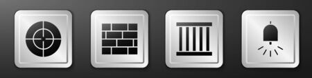 Set Target sport, Bricks, Prison window and Ringing alarm bell icon. Silver square button. Vector. Foto de archivo - 150125908
