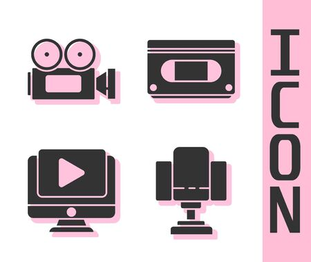 Set Director movie chair, Cinema camera, Online play video and VHS video cassette tape icon. Vector