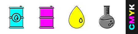 Set Barrel oil, Barrel oil, Oil drop and Oil petrol test tube icon. Vector.