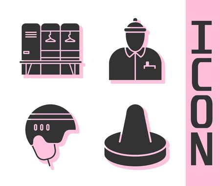 Set Mallet for playing air hockey, Locker or changing room, Hockey helmet and Hockey coach icon. Vector