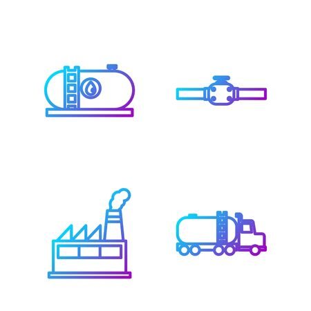 Set line Tanker truck, Oil industrial factory building, Oil industrial factory building and Industry pipes and valve. Gradient color icons. Vector.