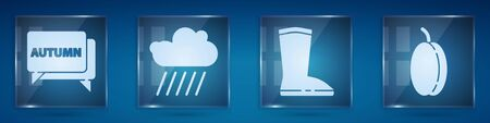 Set Speech bubble with text autumn, Cloud with rain, Waterproof rubber boot and Plum fruit. Square glass panels. Vector. 向量圖像