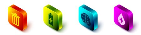 Set Isometric Trash can, Battery, Earth globe and leaf and Water energy icon. Vector.