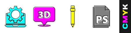 Set Laptop and gear, Speech bubble with text 3D, Pencil with eraser and PS File document icon. Vector.