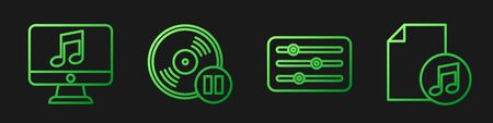 Set line Sound mixer controller, Computer with music note, Vinyl disk and Music book with note. Gradient color icons. Vector.