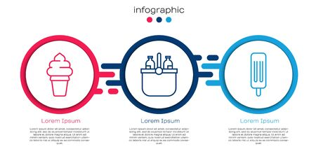Set line Ice cream in waffle cone, Cooler bag and water and Ice cream. Business infographic template. Vector