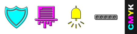 Set Shield, Paper shredder, Ringing alarm bell and Password protection icon. Vector. Ilustração