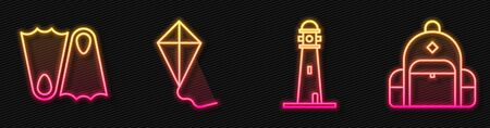 Set line Lighthouse, Rubber flippers, Kite and Hiking backpack. Glowing neon icon. Vector Vectores