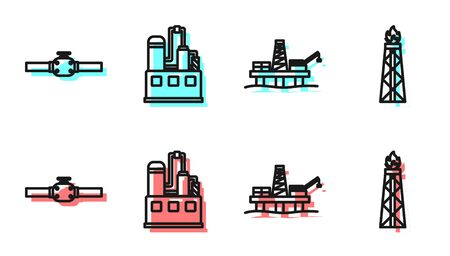 Set line Oil platform in the sea, Industry pipes and valve, Oil industrial factory building and Oil rig with fire icon. Vector
