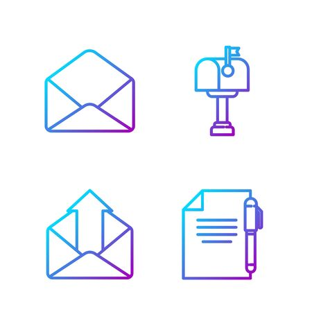 Set line Document and pen, Outgoing mail, Envelope and Mail box. Gradient color icons. Vector. Vectores