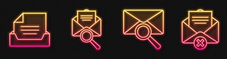 Set line Envelope with magnifying glass, Drawer with document, Envelope with magnifying glass and Delete envelope. Glowing neon icon. Vector. Archivio Fotografico - 150126793