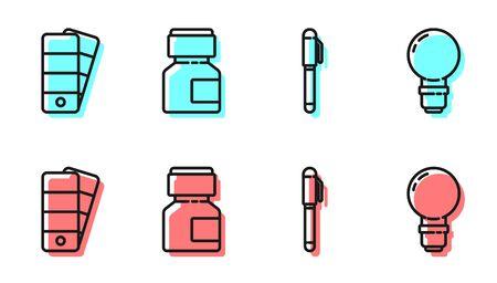 Set line Pen, Palette, Paint, gouache, jar, dye and Light bulb icon Vector illustration Archivio Fotografico - 150126839