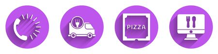 Set Food ordering, Fast delivery by car, Pizza in cardboard box and Online ordering and delivery icon with long shadow. Vector