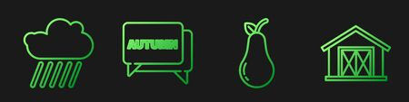 Set line Pear, Cloud with rain, Speech bubble with text autumn and Farm house. Gradient color icons. Vector 일러스트
