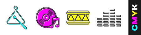 Set Triangle musical instrument, Vinyl disk, Drum and Music equalizer icon. Vector Illustration