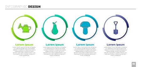 Set Watering can, Pear, Mushroom and Shovel. Business infographic template. Vector
