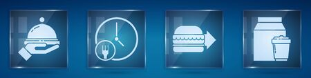 Set Covered with a tray of food, Round the clock delivery, Online ordering burger delivery and Online ordering and delivery. Square glass panels. Vector. 向量圖像