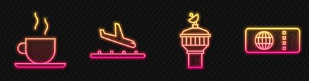 Set line Radar, Coffee cup, Plane landing and Airline ticket. Glowing neon icon. Vector
