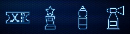 Set line Fitness shaker, Hockey sports ticket, Award cup, Air horn and Ice hockey stick. Glowing neon icon on brick wall. Vector