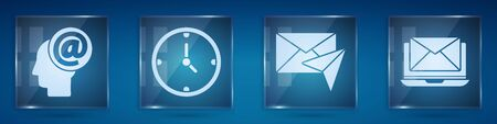 Set Mail and e-mail, Clock, Envelope and Laptop with envelope. Square glass panels. Vector