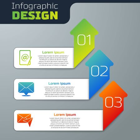 Set Mail and e-mail, Envelope and Envelope. Business infographic template. Vector