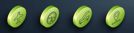 Set Isometric Plane, Compass, Passenger ladder for plane boarding and Location icon. Vector