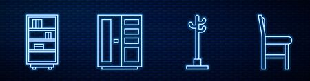Set line Coat stand, Library bookshelf, Wardrobe and Chair. Glowing neon icon on brick wall. Vector Vectores