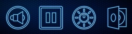 Set line Dial knob level technology settings, Speaker volume, Pause button, Vinyl player with a vinyl disk and Musical tuning fork. Glowing neon icon on brick wall. Vector