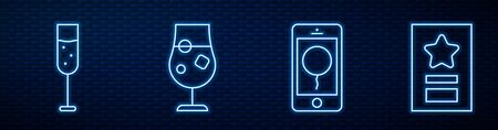 Set line Mobile with birthday message, Glass of champagne, Cocktail and alcohol drink and Greeting card. Glowing neon icon on brick wall. Vector