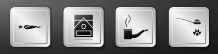Set Marijuana joint, Cigarettes pack box, Smoking pipe and Heroin in a spoon icon. Silver square button. Vector