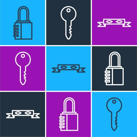 Set line Safe combination lock, Thief eye mask and Key icon. Vector Vectores