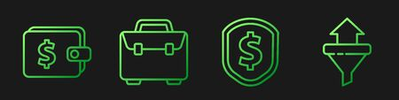 Set line Shield with dollar, Wallet with dollar, Briefcase and Sales funnel with arrows. Gradient color icons. Vector