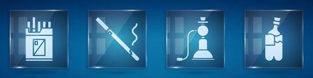 Set Open cigarettes pack box, Cigarette, Hookah and Bong for smoking marijuana. Square glass panels. Vector 向量圖像