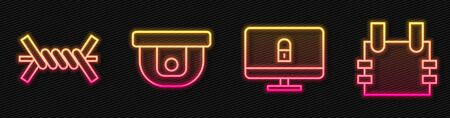 Set line Lock on computer monitor, Barbed wire, Motion sensor and Bulletproof vest. Glowing neon icon. Vector